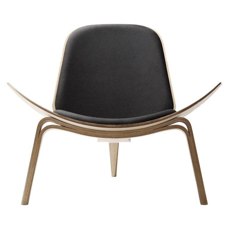 For Sale: Black (Kvadrat DivinaMelange 180) CH07 Shell Chair in Oak White Oil with Foam Seat by Hans J. Wegner