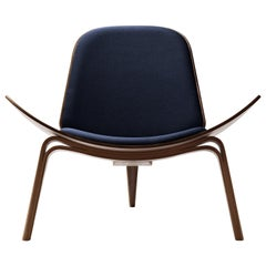 CH07 Shell Chair in Walnut Oil with Canvas 794 Fabric Seat by Hans J. Wegner