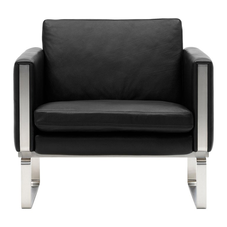 For Sale: Black (Thor 301) CH101 Chair in Stainless Steel Frame with Leather Seat by Hans J. Wegner