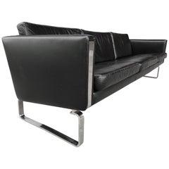 ch103 3-Seat Sofa Design Hans Wegner, 1970, Black Leather and Chromed Steel