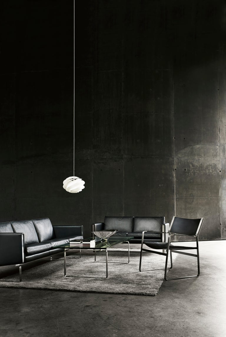 CH103 3-Seat Sofa in Stainless Steel Frame with Leather Seat by Hans J. Wegner For Sale 8