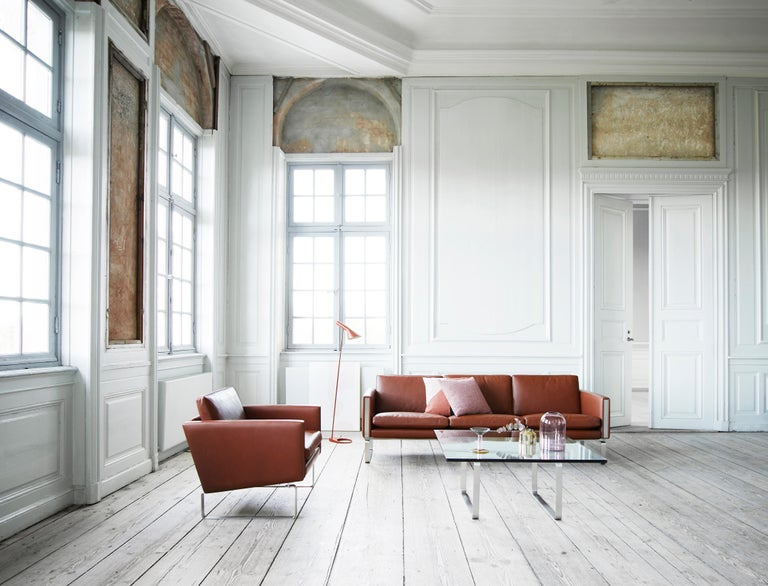 CH103 3-Seat Sofa in Stainless Steel Frame with Leather Seat by Hans J. Wegner For Sale 9