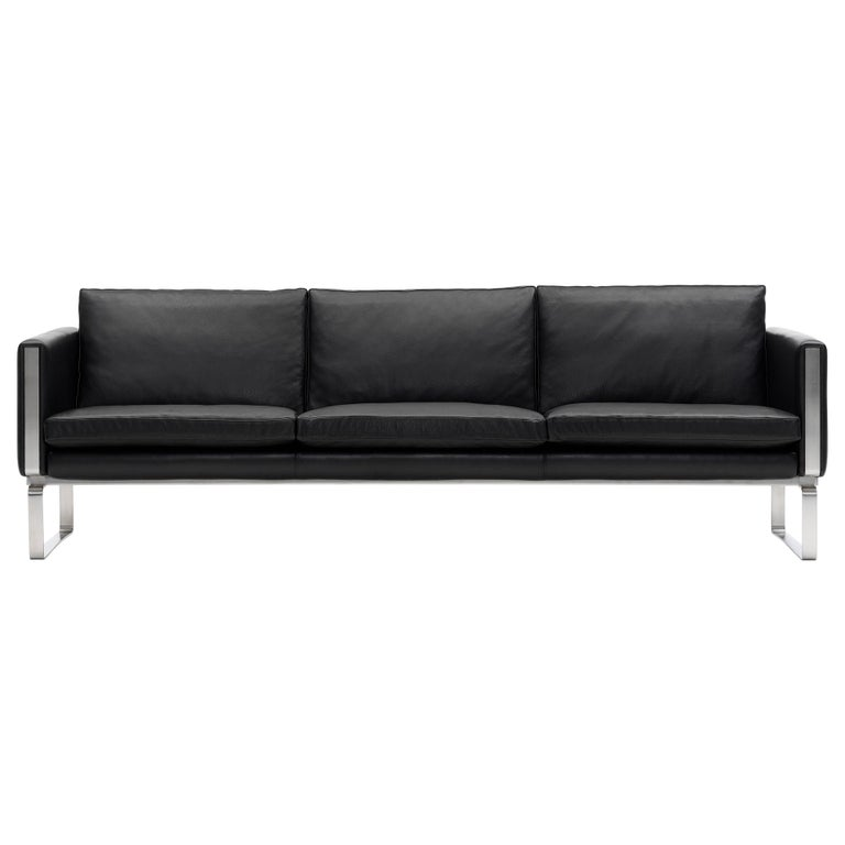 For Sale: Black (Thor 301) CH103 3-Seat Sofa in Stainless Steel Frame with Leather Seat by Hans J. Wegner