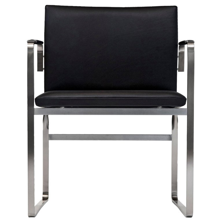 For Sale: Black (Thor 301) CH111 Chair in Stainless Steel With Foam Seat by Hans J. Wegner