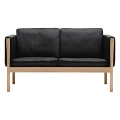 CH162 Sofa in Oiled Oak Frame with Leather Upholstery by Hans J. Wegner