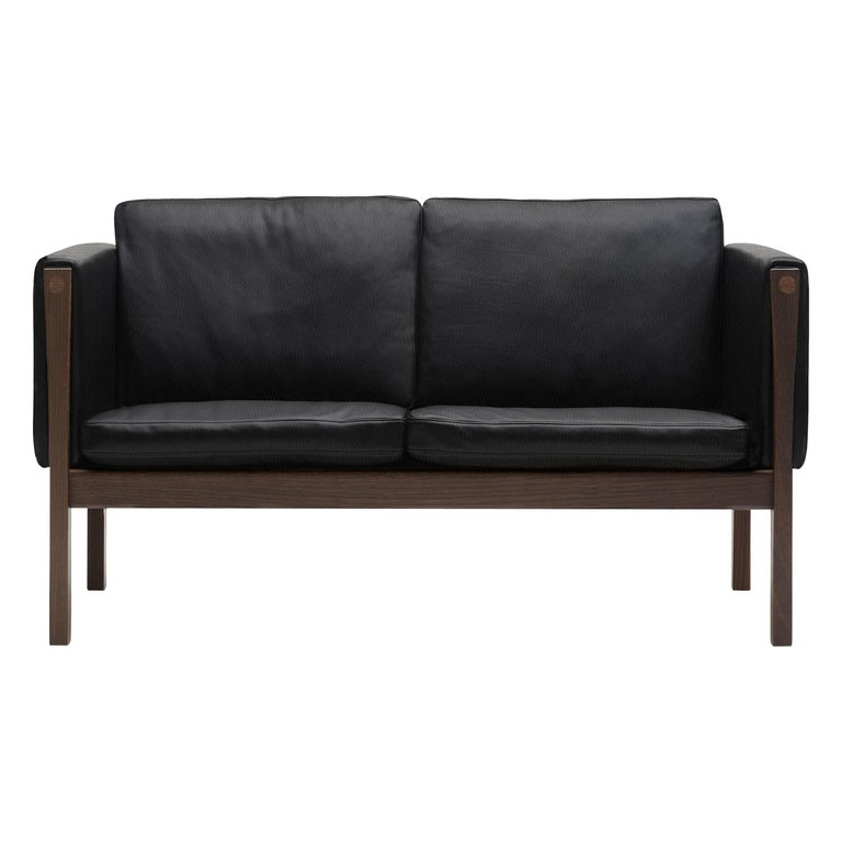 For Sale: Black (Thor 301) CH162 Sofa in Walnut Oil Frame with Leather Upholstery by Hans J. Wegner