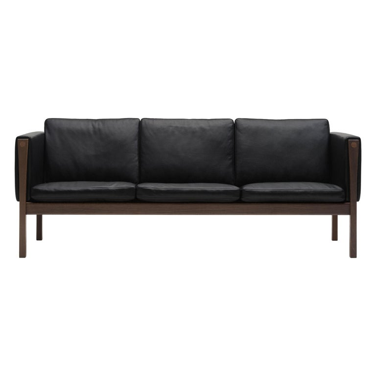 For Sale: Black (Thor 301) CH163 Sofa in Walnut Oil Frame with Leather Upholstery by Hans J. Wegner