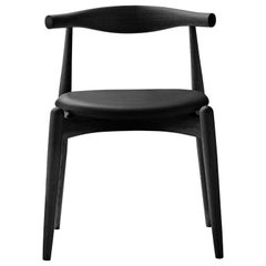 CH20 Elbow Chair in Oak Painted Black & Thor 301 Leather Seat by Hans J. Wegner