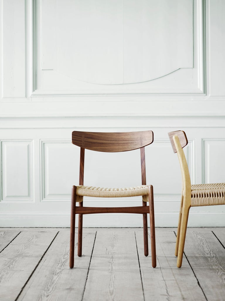 CH23 Dining Chair in Wood Finishes with Black Papercord Seat by Hans J. Wegner For Sale 3