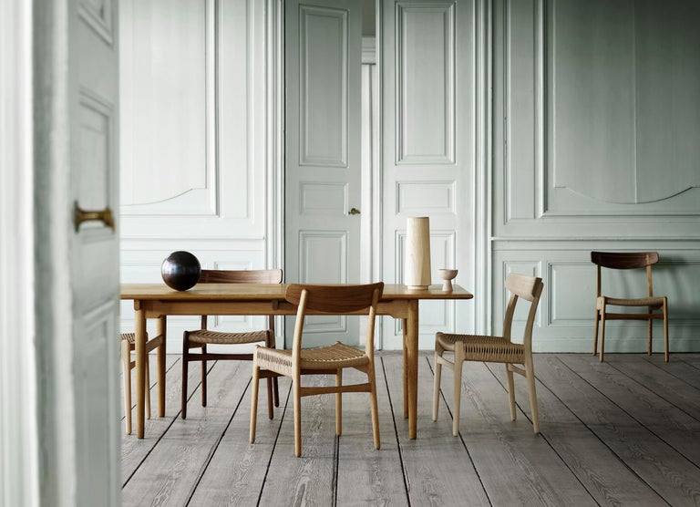 CH23 Dining Chair in Wood Finishes with Black Papercord Seat by Hans J. Wegner For Sale 8