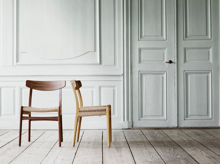 CH23 Dining Chair in Wood Finishes with Black Papercord Seat by Hans J. Wegner For Sale 1