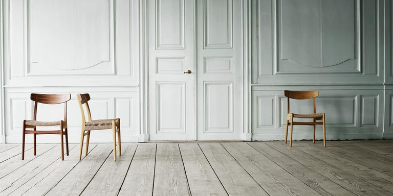 CH23 Dining Chair in Wood Finishes with Black Papercord Seat by Hans J. Wegner For Sale 2