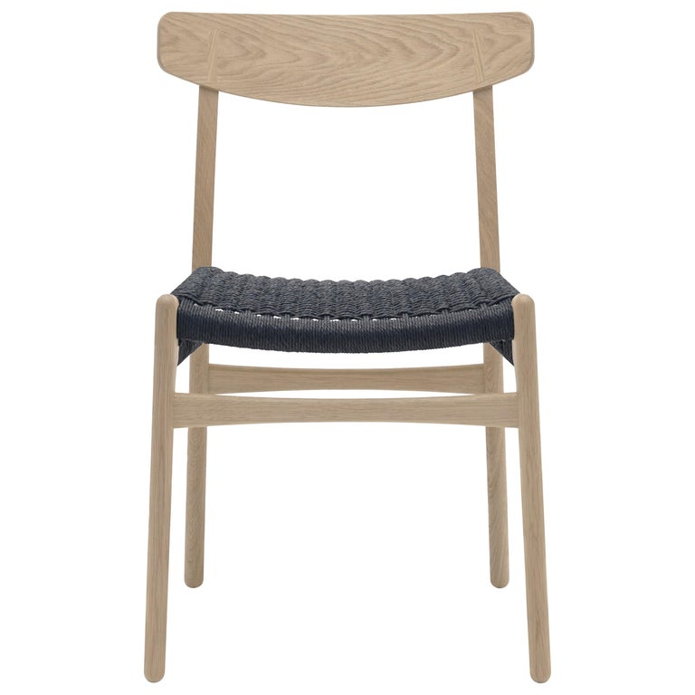 For Sale: Brown (Oak Soap) CH23 Dining Chair in Wood Finishes with Black Papercord Seat by Hans J. Wegner
