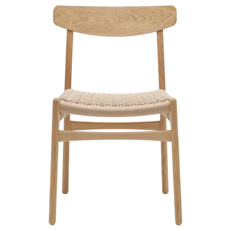 For Sale: Brown (Oak Oil) CH23 Dining Chair in Wood Finishes with Natural Papercord Seat by Hans J. Wegner