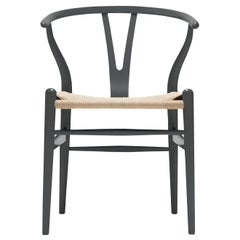 CH24 Wishbone Chair in Anthracite Gray & Natural Papercord Seat by Hans Wegner
