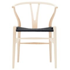 CH24 Wishbone Chair in Ash Soap with Black Papercord Seat by Hans J. Wegner
