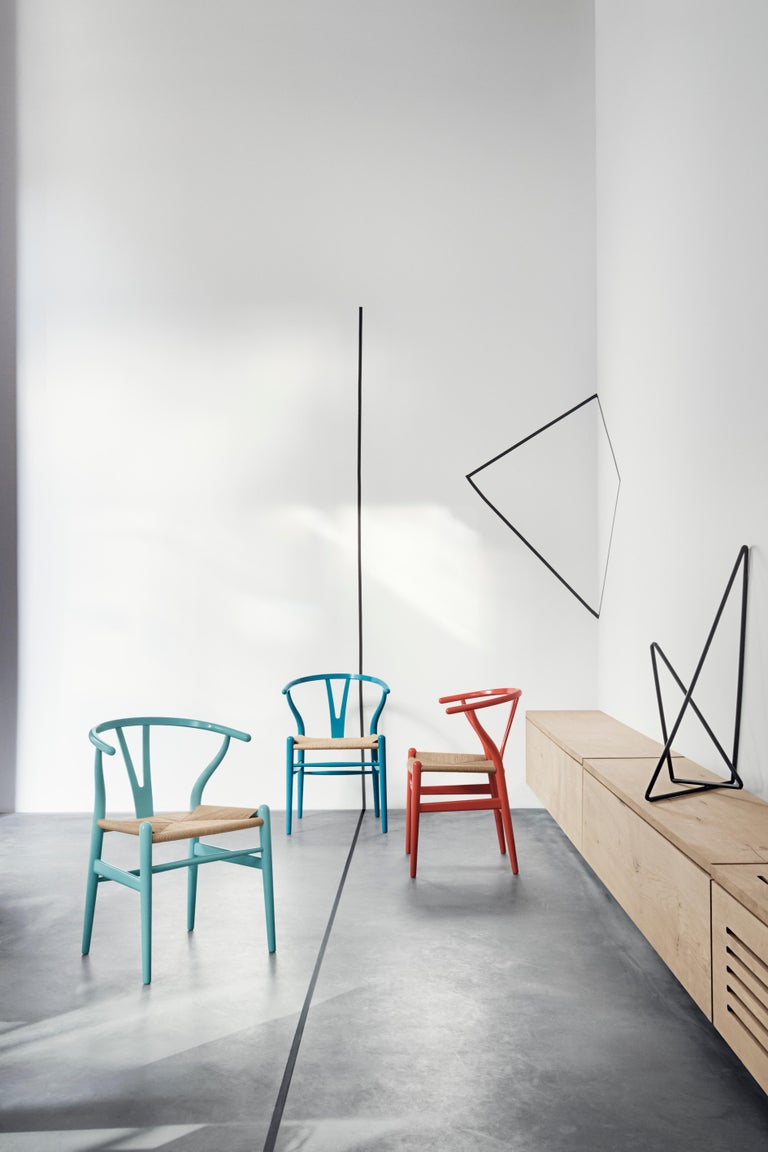 CH24 Wishbone Chair in Color Finishes with Black Papercord Seat by Hans Wegner For Sale 17