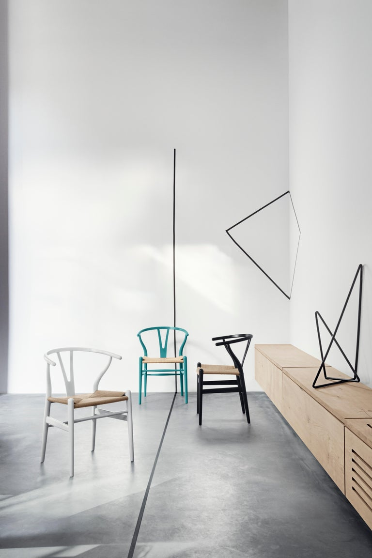 CH24 Wishbone Chair in Color Finishes with Black Papercord Seat by Hans Wegner For Sale 18