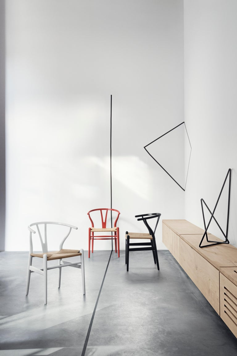 CH24 Wishbone Chair in Color Finishes with Black Papercord Seat by Hans Wegner For Sale 19