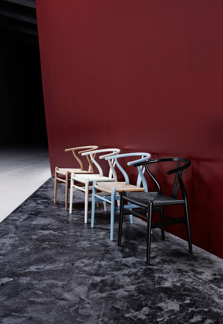 CH24 Wishbone Chair in Color Finishes with Black Papercord Seat by Hans Wegner For Sale 24