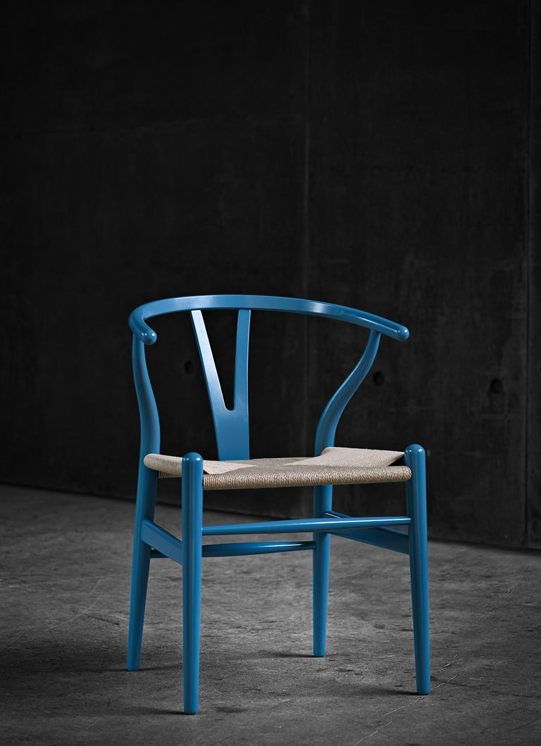 CH24 Wishbone Chair in Color Finishes with Black Papercord Seat by Hans Wegner For Sale 25