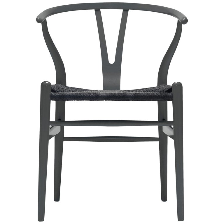For Sale: Gray (NCS S7502-B) CH24 Wishbone Chair in Color Finishes with Black Papercord Seat by Hans Wegner