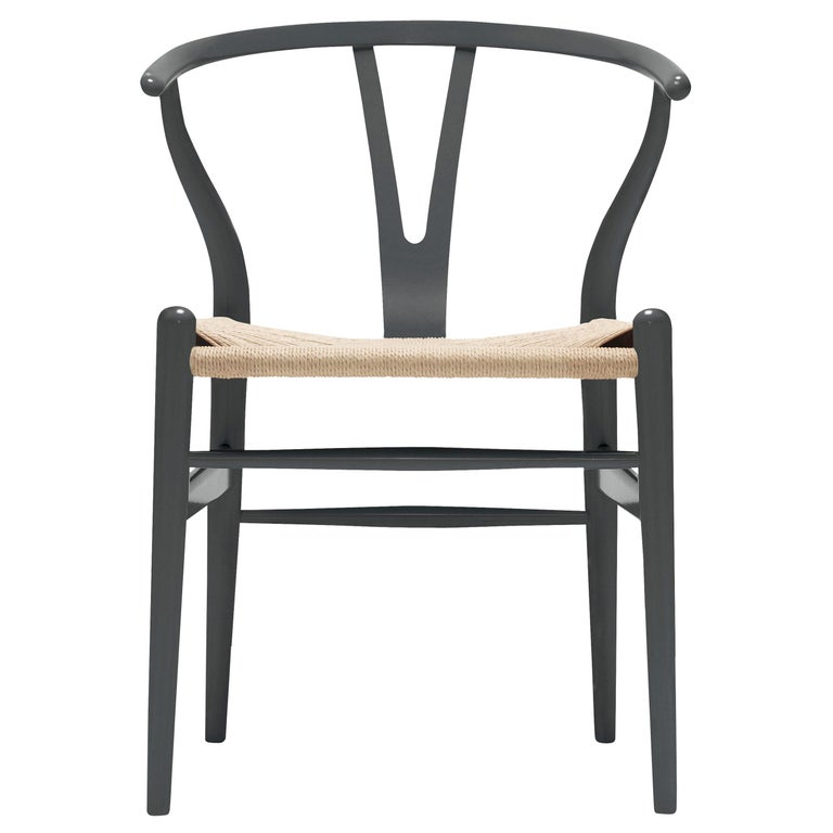 For Sale: Gray (NCS S7502-B) CH24 Wishbone Chair in Color Finishes with Natural Papercord Seat by Hans Wegner