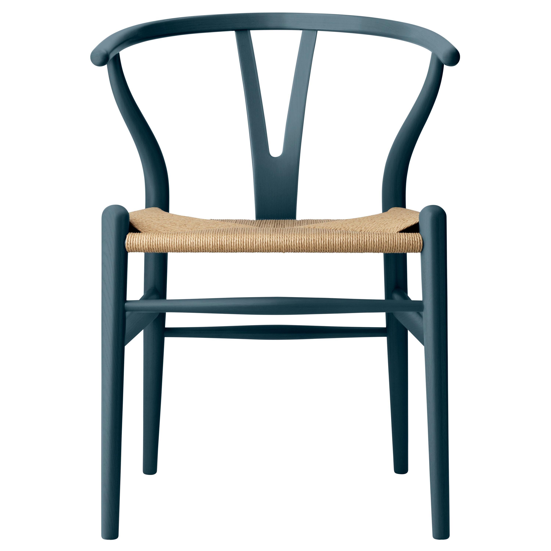 CH24 Wishbone Chair in Oak / North Sea by Hans J. Wegner & Ilse Crawford