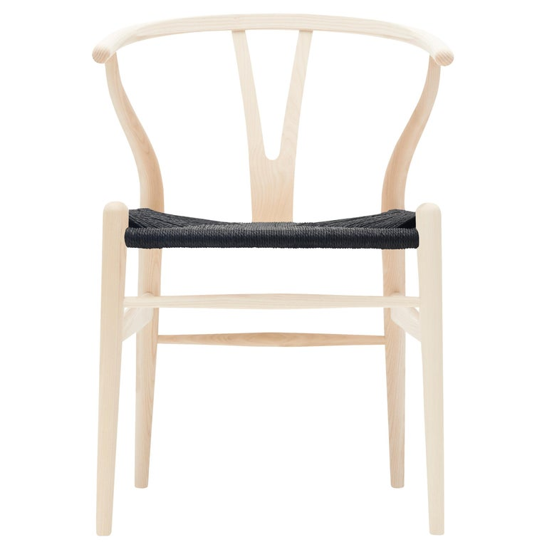 For Sale: Beige (Ash Soap) CH24 Wishbone Chair in Wood Finishes with Black Papercord Seat by Hans J. Wegner