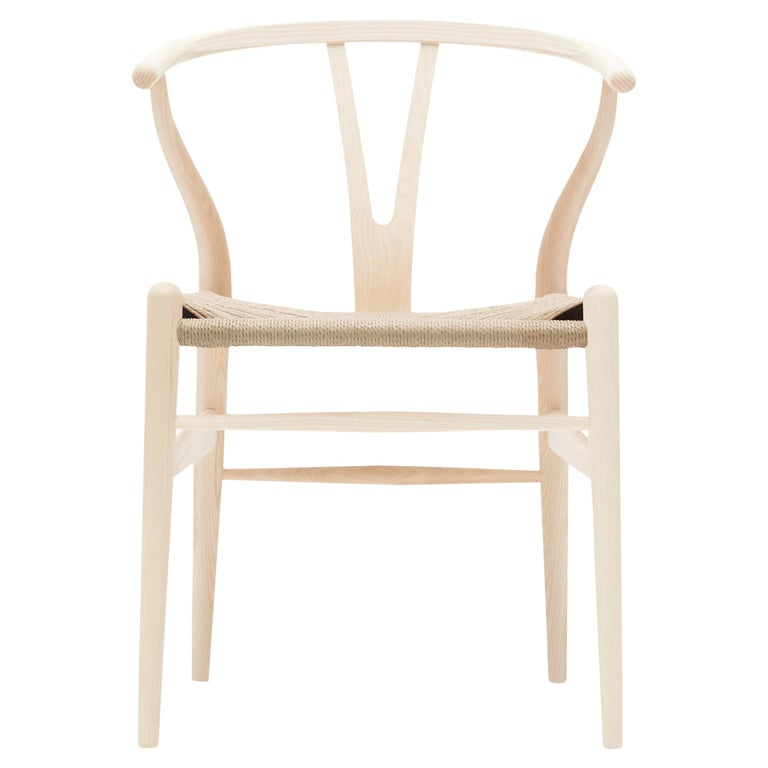 For Sale: Beige (Ash Soap) CH24 Wishbone Chair in Wood Finishes with Natural Papercord Seat by Hans Wegner