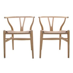 CH24 Wishbone Chairs 'Pair' by Wegner for Carl Hansen & Son in 1949, New Seat