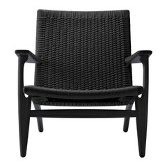 CH25 Easy Lounge Chair with Black Papercord Seat by Hans J. Wegner