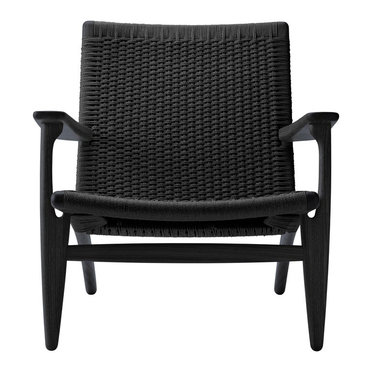 For Sale: Black (Oak Painted blacks9000-N) CH25 Easy Lounge Chair with Black Papercord Seat by Hans J. Wegner