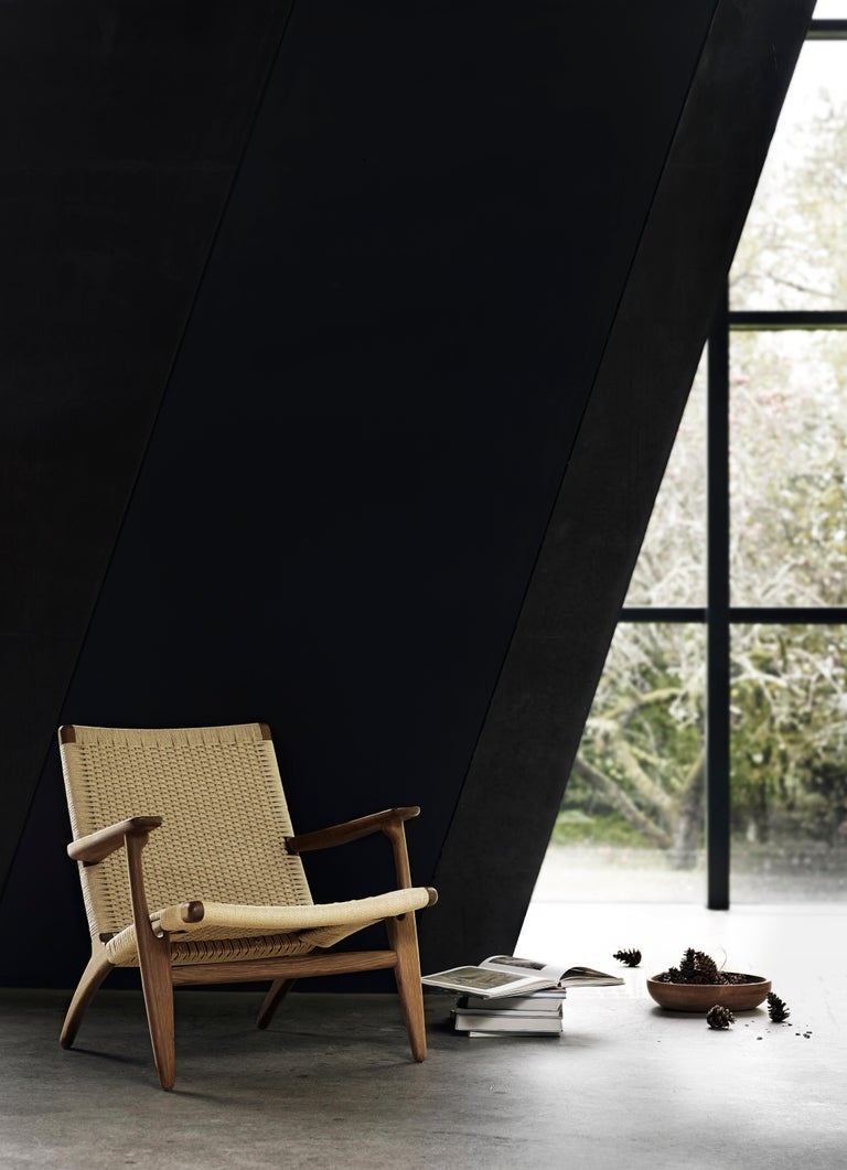 CH25 Easy Lounge Chair with Natural Papercord Seat by Hans J. Wegner For Sale 15
