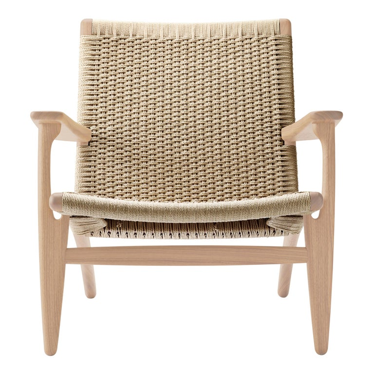 For Sale: Beige (Oak White Oil) CH25 Easy Lounge Chair with Natural Papercord Seat by Hans J. Wegner