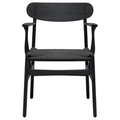 CH26 Dining Chair in Oak Painted Black & Black Papercord Seat by Hans J. Wegner