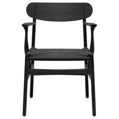 CH26 Dining Chair in Wood Finishes and Black Papercord by Hans J. Wegner