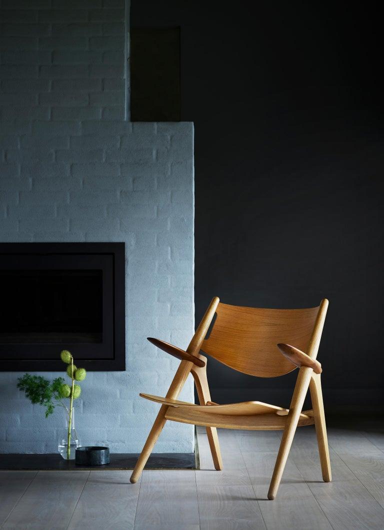 Danish CH28P Lounge Chair in Oiled Oak with Foam Seat by Hans J. Wegner For Sale