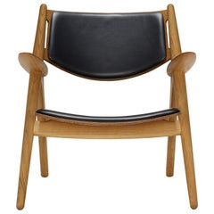 CH28P Lounge Chair with Oiled Oak Frame and Thor 301 Leather by Hans J. Wegner