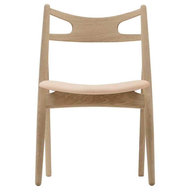 For Sale: Beige (Sif 90) CH29P Sawbuck Chair in Oak Soap by Hans J. Wegner
