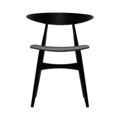 CH33P Dining Chair in Beech Painted Black with Fabric Seat by Hans J. Wegner