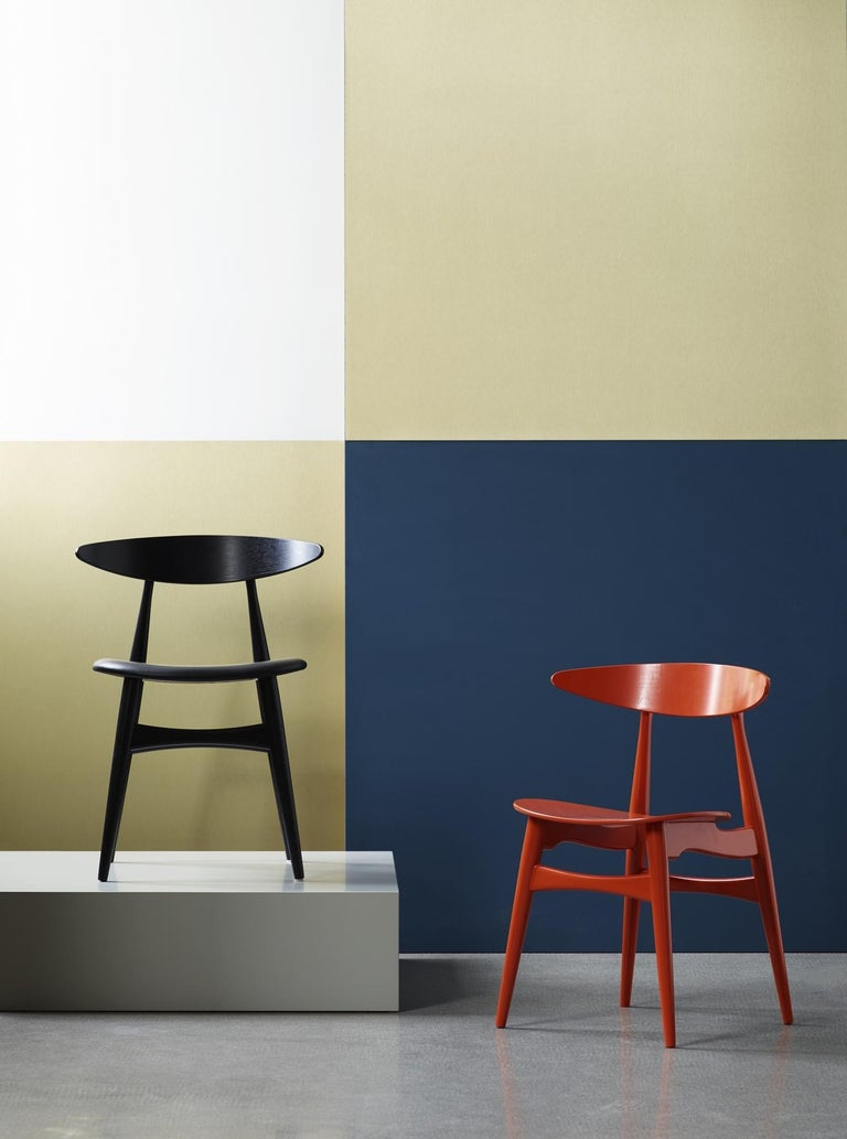 Lacquered CH33P Dining Chair in Black by Hans J. Wegner for Carl Hansen & Son For Sale