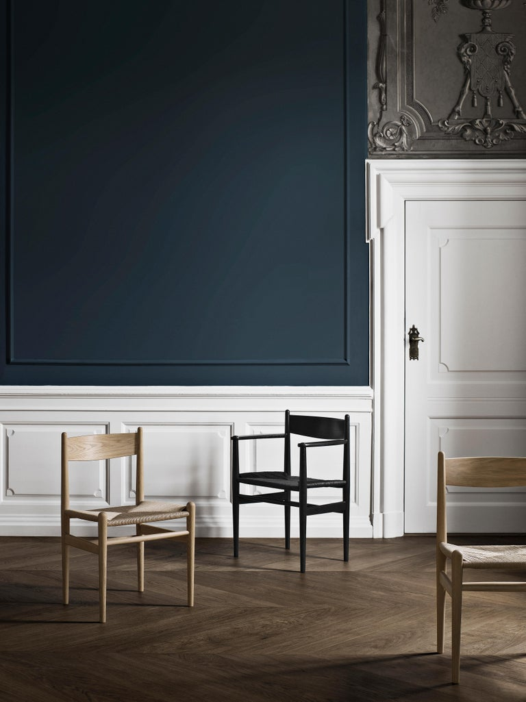 Woven CH37 Dining Chair in Wood Finishes with Black Papercord Seat by Hans J. Wegner For Sale