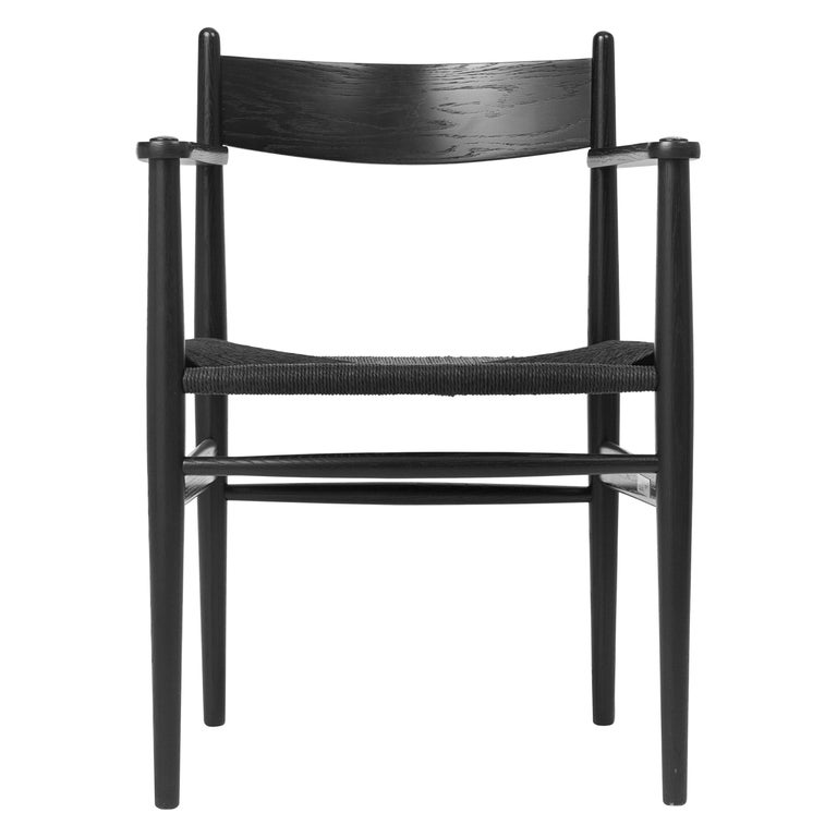 For Sale: Black (Oak Painted blacks9000-N) CH37 Dining Chair in Wood Finishes with Black Papercord Seat by Hans J. Wegner