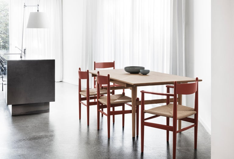 Contemporary CH37 Dining Chair in Wood Finishes with Natural Papercord Seat by Hans J. Wegner For Sale
