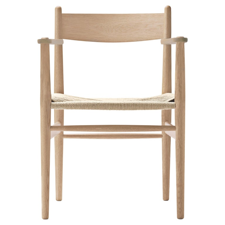 For Sale: Beige (Oak White Oil) CH37 Dining Chair in Wood Finishes with Natural Papercord Seat by Hans J. Wegner