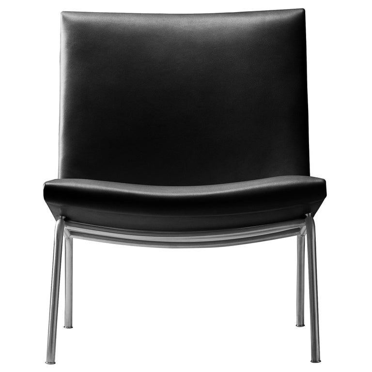 For Sale: Black (Thor 301) CH401 Kastrup Chair in Stainless Steel with Leather Seat by Hans J. Wegner