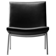 CH401 Kastrup Chair in Stainless Steel with Leather Seat by Hans J. Wegner