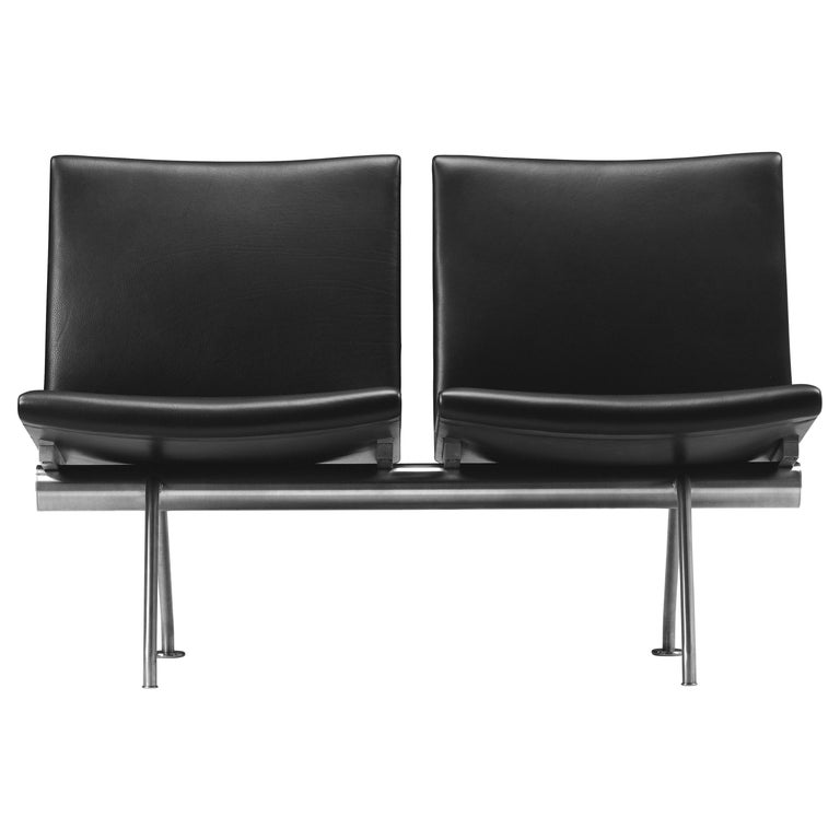 For Sale: Black (Thor 301) CH402 Kastrup Sofa in Stainless Steel with Leather Seat by Hans J. Wegner
