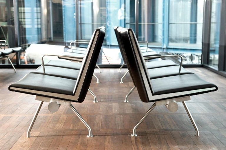 CH403 3-Seat Kastrup Sofa in Stainless Steel with Leather Seat by Hans J. Wegner For Sale 2